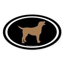chocolate lab oval (wh/br/blk) Oval Decal