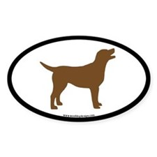 chocolate lab oval (wide border) Oval Decal