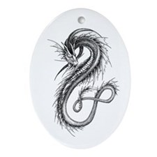 Oval Moon Dragon Ornament
