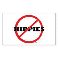 NO HIPPIES Rectangle Decal