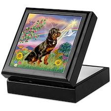 Cloud Angel with Rottweiler Keepsake Box