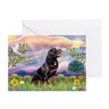 Cloud Angel with Rottweiler Greeting Card