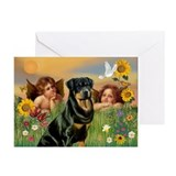 Two Angels & Rottie Greeting Cards (Pk of 10)