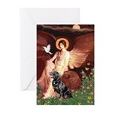 Seated Angel /Rottweiler Greeting Cards (Pk of 10)