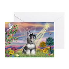 Cloud Angel & Schnauzer Greeting Card