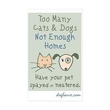 Too Many Spay & Neuter Rectangle Sticker 50 p