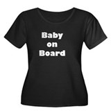 Baby on Board Women's Plus Size Scoop Neck Dark T-