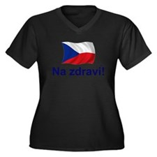 Czech Na zdravi! Women's Plus Size V-Neck Dark T-S