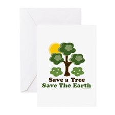 Save A Tree Save the Earth Greeting Cards 10 Pack