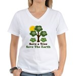 Save A Tree Save the Earth Women's V-Neck T-Shirt