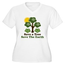 Save A Tree Save the Earth Plus Size V-Neck Tee