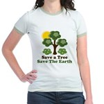 Save A Tree Save the Earth Jr. Ringer T-Shirt