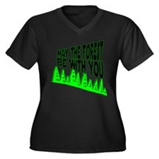 Earth Day - May the Forest be Women's Plus Size V-