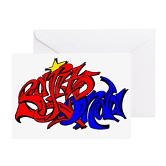 BO GRAFF RED BLUE GOLD Greeting Card