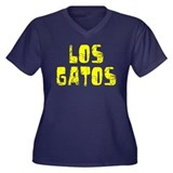 Los Gatos Faded (Gold) Women's Plus Size V-Neck Da
