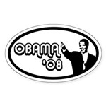 OBAMA 08' Euro Oval Sticker (10 pk)