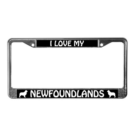 I Love My Newfoundlands (PLURAL) License Frame