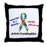 Blessing 3 (Autistic Granddaughters) Throw Pillow
