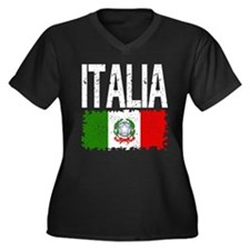 Classic Retro Italia Women's Plus Size V-Neck Dark