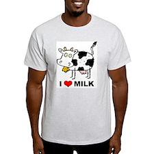 I Love Milk Ash Grey T-Shirt