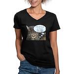 CAT NAP HUMOR Women's V-Neck Dark T-Shirt