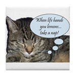 CAT NAP HUMOR Tile Coaster