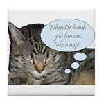 CAT NAP HUMOR Tile Coaster