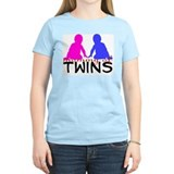 """mommy of twins"" boy & girl Women's Pink T-Shirt"