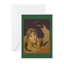 Aviatrix Greeting Cards-Green (Pk of 10)