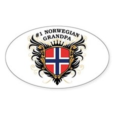 Number One Norwegian Grandpa Oval Decal