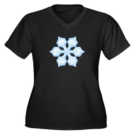 Flurry Snowflake XIX Women's Plus Size V-Neck Dark