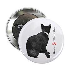 "Black & White Cat Logo 2.25"" Button"