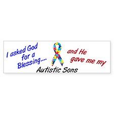 Blessing 3 (Autistic Sons) Bumper Bumper Sticker