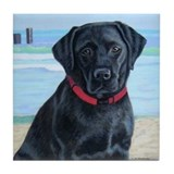 Black Lab on Beach Tile Coaster