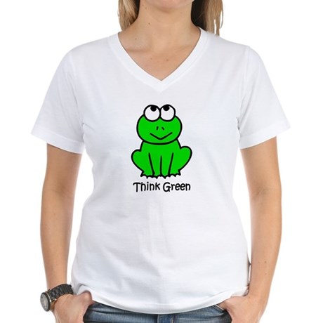 Think Green Women's V-Neck T-Shirt