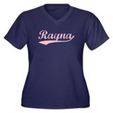 Vintage Rayna (Pink) Women's Plus Size V-Neck Dark