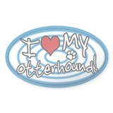 Hypno I Love My Otterhound Sticker Blue