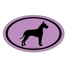great dane oval (white on purple) Oval Decal