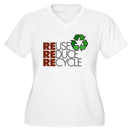 Reuse Reduce Recycle Women's Plus Size V-Neck T-Sh