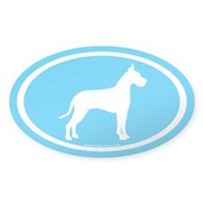 great dane oval (white on blue) Oval Decal