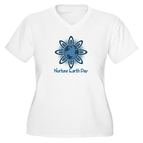 Nurture Earth Day Women's Plus Size V-Neck T-Shirt