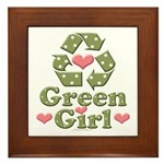 Green Girl Recycling Recycle Framed Tile