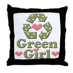 Green Girl Recycling Recycle Throw Pillow