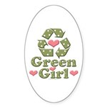 Green Girl Recycle Recycling Oval Sticker (10 pk)