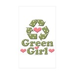Green Girl Recycle Recycling Sticker 10 Pack