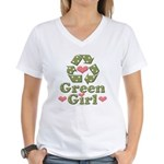Green Girl Recycling Recycle Women's V-Neck T-Shir