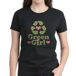 Green Girl Recycling Recycle Women's Dark T-Shirt