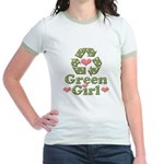 Green Girl Recycling Recycle Jr. Ringer T-Shirt