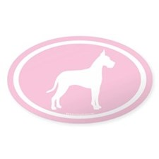 great dane oval (white on pink) Oval Decal