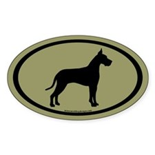 great dane oval (white on sage) Oval Decal